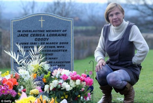Jackiey Budden visits Jade Goody's headstone on the first anniversary of her death on March 21, 2010 in Upshire, England