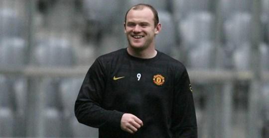 Manchester United's Wayne Rooney training ahead of tonight's quarter-final against Bayern Munich