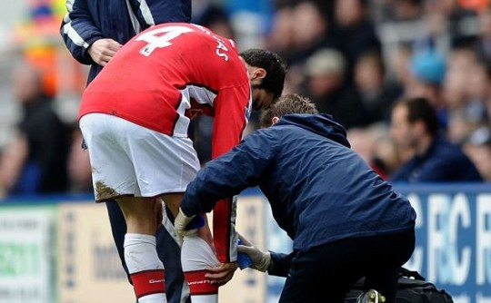 I kneed help: An injury against Birmingham looks set to rob Arsenal of Cesc Fabregas for their Barcelona clash