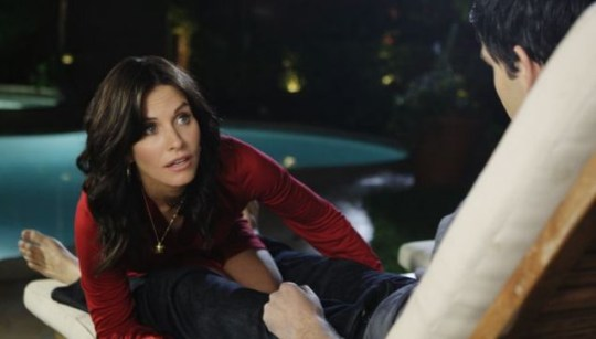 Courteney Cox getting down and dirty in Cougar Town