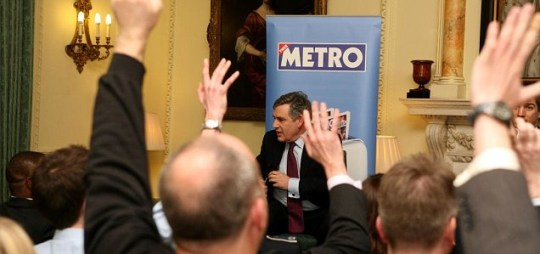 Gordon Brown answering questions from Metro readers at our Meet The Leaders Q&A in Downing Street