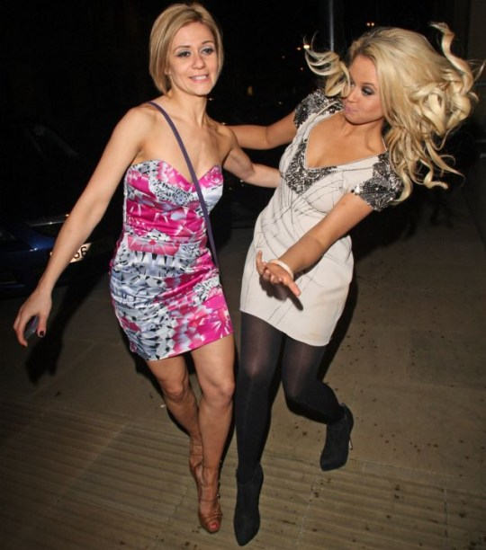 Emily Atack and Hayley Tamaddon nearly fell to the ground and they weren't even on ice...