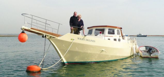 She floats: Owen and Anne Warboys on board the Wight Dolphin