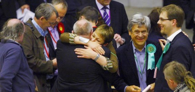 Caroline Lucas celebrates Britain's first win for the Green Party