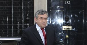Gordon Brown at Downing Street today