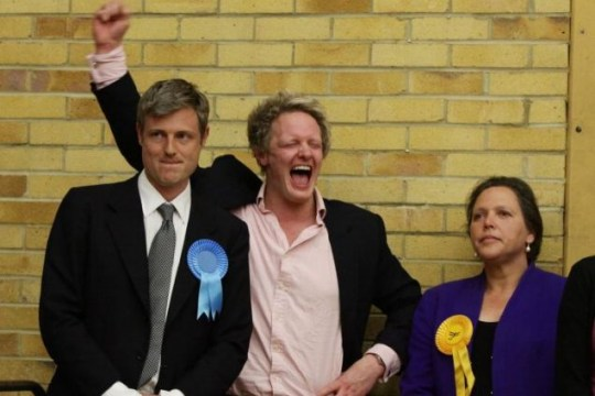 Zac Goldsmith celebrates winning the seat for Richmond Park with his election agent David Newman, as defeated Liberal Democrat candidate Susan Kramer watches on Picture:Yui Mok/PA Wire