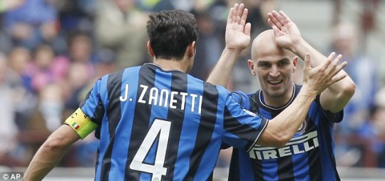 Defender Javier Zanetti (left) and midfielder Esteban Cambiasso (right) will not play at the World Cup