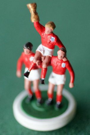 Tom Taylor's Subbuteo version of Bobby Moore's World Cup triumph