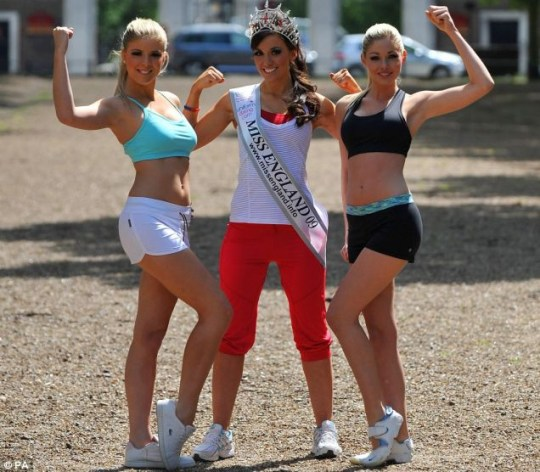 Miss England, Lance Corporal Katrina Hodge (centre), Kimberley Cooper (left) and Anna Watts (right)