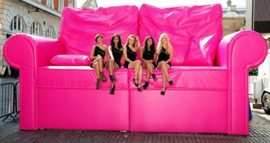 The Saturdays become pocket-sized on giant sofa for new T-Mobile