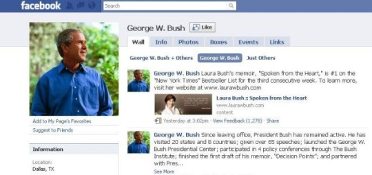 George W Bush, Facebook