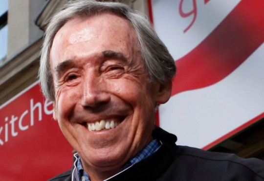 Gordon Banks outside Gourmet Burger Kitchen, which has been renamed 'Gordon Banks' Kitchen' for the World Cup
