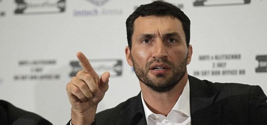 Wladimir Klitschko speaks during a news conference with David Haye