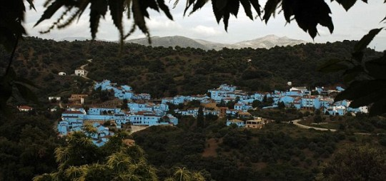 The little town of Juzcar in Spain has been painted blue for the Smurf movie (Pic: Reuters)
