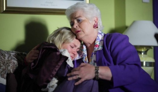 EastEnders: Fat Pat comforts a grieving Janine