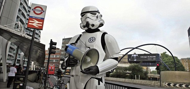 A Greenpeace campaigner dressed as a Stormtrooper at Old Street's roundabout