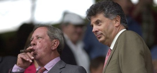 Reply: Arsenal Chairman Peter Hill-Wood pictured with Vice Chairman David Dein, has hit back at former shareholder Lady Bracewell-Smith's Twitter comments (Daily Mail)