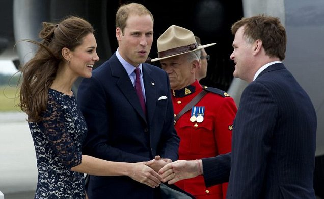 Prince William and Kate Middleton greeted by Canadian foreign affairs minister John Baird