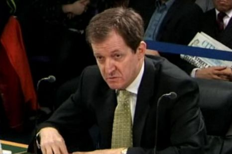 Alastair Campbell speaking at a hearing of the Iraq Inquiry