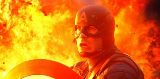 Chris Evans plays Captain America in Captain America: The First Avenger