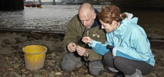 Where there's muck: Steve Brooker shows journalist Petronella Wyatt treasures from the Thames (Picture: Les Wilson)