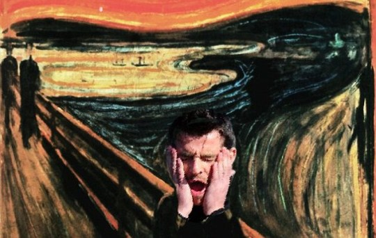 Shock horror: Joey Barton loves art and strangely looks right at home in Edvard Munch's  masterpiece 'The Scream'