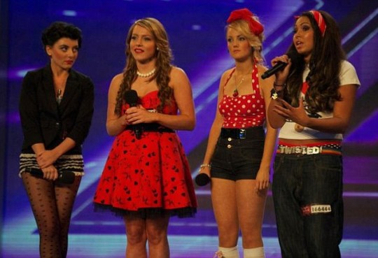 Girl group Twisted on stage on week 4 of the UK's 2011 X Factor