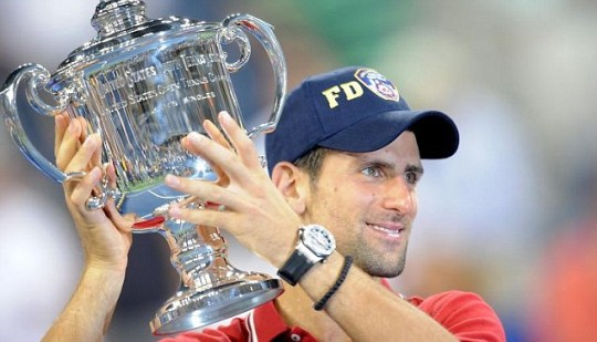 Novak Djokovic celebrates winning the US Open after his victory over Rafael Nadal (Picture: PA)