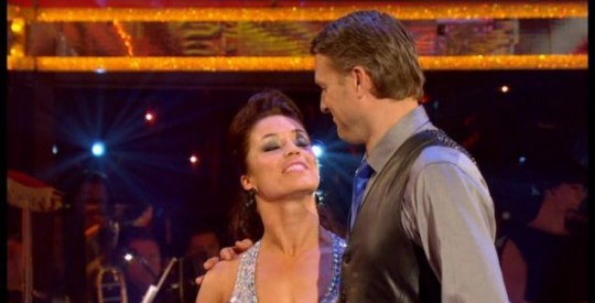 Dan Lobb and dance partner Katya Virshilas exchange glances after hearing the bad news. (Picture: BBC)
