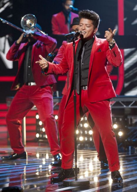 Bruno Mars feeling the funk on The X Factor. (Picture: Rex)