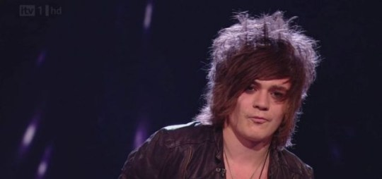 Frankie Cocozza leaped into Gary Barlow's arms when he heard he had avoided the X Factor bottom two on Sunday. (Picture: ITV)
