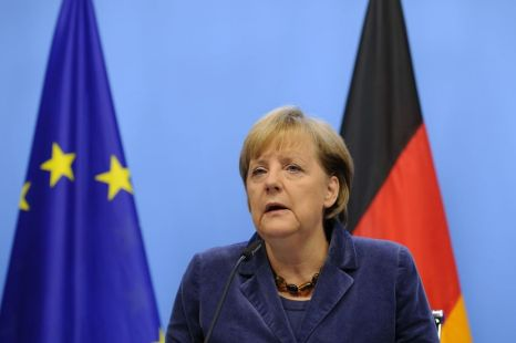 German Chancellor Angela Merkel speaks during at the end of a Eurozone summit