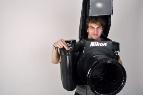 Tyler Card in his fully functional Nikon camera costume (Picture: Rex)