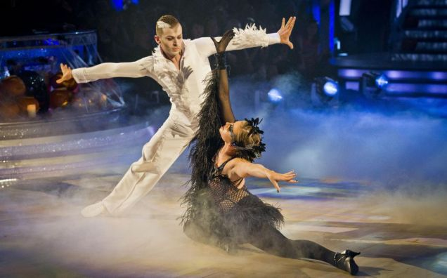 Holly Valance and Artem Chigvinstev dancED the America Smooth to Swan Lake by Tchaikovsky on Strictly Come Dancing. (Picture: PA)