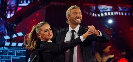 Robbie Savage and Ola Jordan dance the  Quickstep to Little Green Bag on Strictly Come Dancing. (Picture: PA)