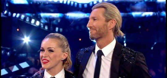 Tess Daly gives Robbie Savage and Ola Jordon the bad news on Strictly Come Dancing. (Picture: BBC)