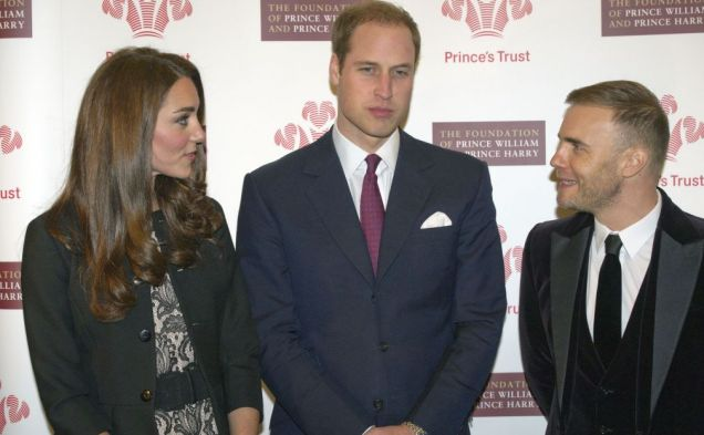 Kate Middleton, Prince William, Gary Barlow, Duke and Duchess of Cambridge, Royal Albert Hall, The Prince's Trust