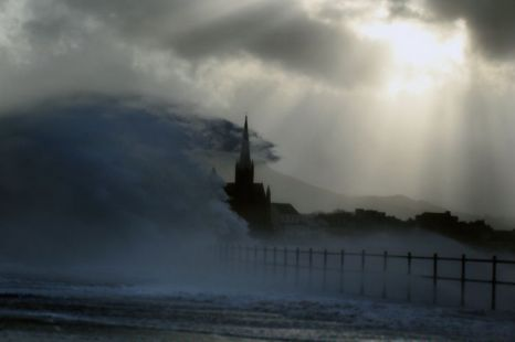 Largs promenade in Scotland is battered by winds