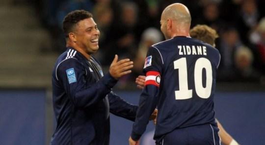 Ronaldo, Zinedine Zidane, charity soccer match against poverty.