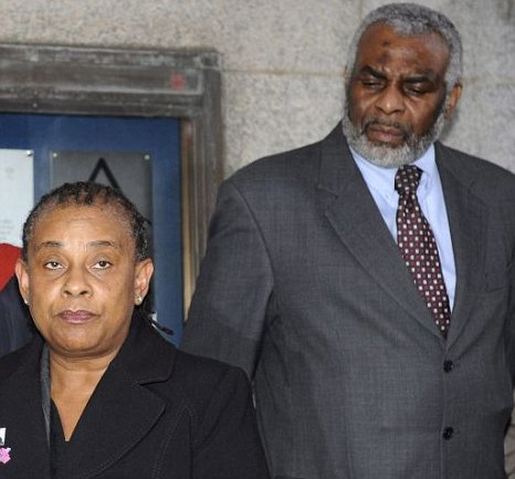 The mother and father of Stephen Lawrence, Doreen and Neville, spoke outside the Old Bailey after today's conviction of two of their son's killers
