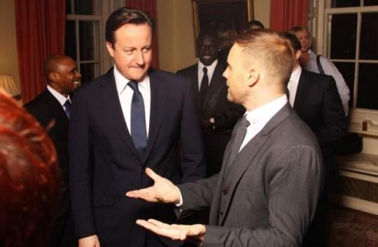 Prime minister David Cameron chats to Gary Barlow