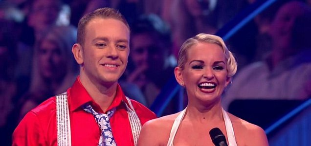 Jennifer Ellison awaits the judges' comments on Dancing on Ice (Picture: ITV)