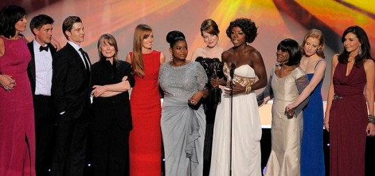 The cast of The Help accept the award for outstanding performance by a cast in a motion picture at the 18th Annual Screen Actors Guild Awards