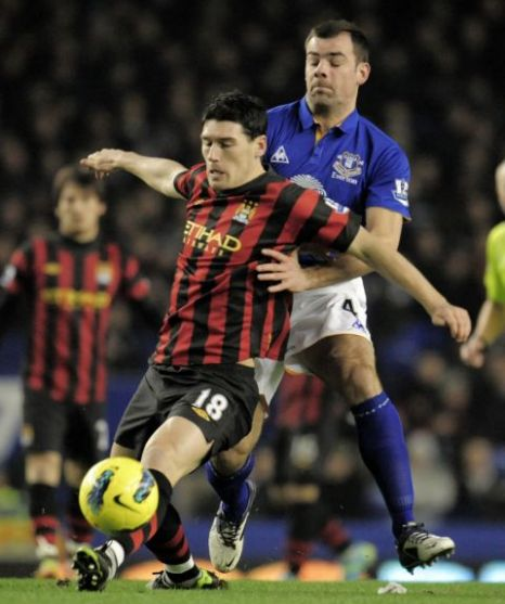 Shut out: Match-winner Gibson helped Everton frustrate City