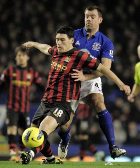 Shut out: Match-winner Gibson helped Everton frustrate City