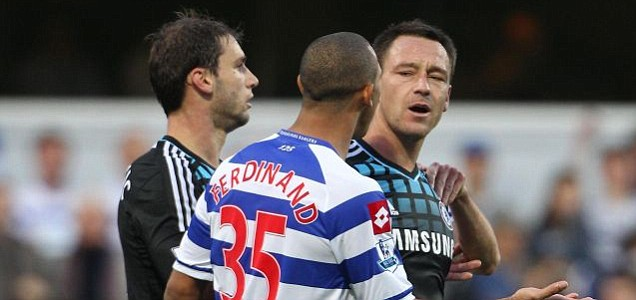 Chelsea captain John Terry speaking with QPR's Anton Ferdinand