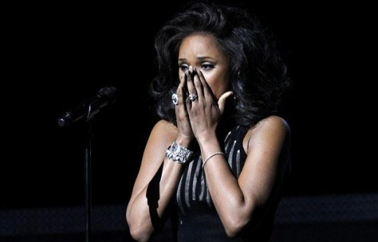 Jennifer Hudson reacts after performing I Will Always Love You as a tribute to the late Whitney Houston