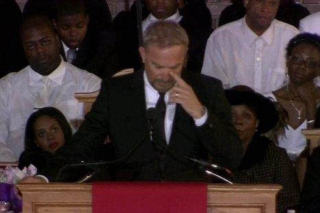 Kevin Costner Whitney Houston's funeral