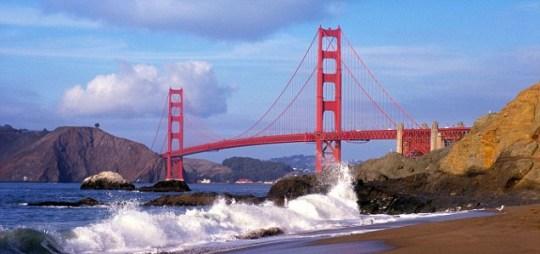 California, Golden Gate Bridge from Baker's beach