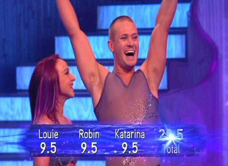 Matthew Wolfenden celebrates his high Dancing On Ice score (Picture: ITV)